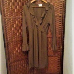 Slimming Ruffled Brown Ladies Dress Sz L
